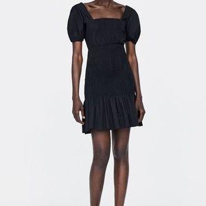 Zara smocked dress black nwt ref 2026/648